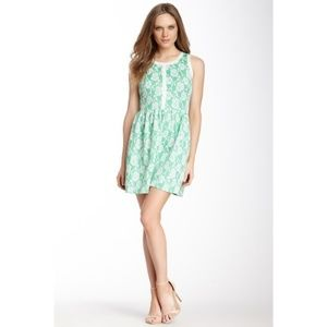 Love...Ady Floral Fit and Flare Green Dress Size M